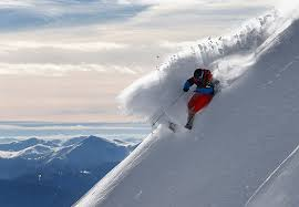 Skier defying the God of avalanches