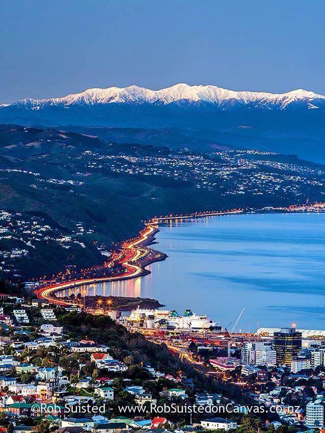 Wellington, NZ with the snow capped Tararuas in the background