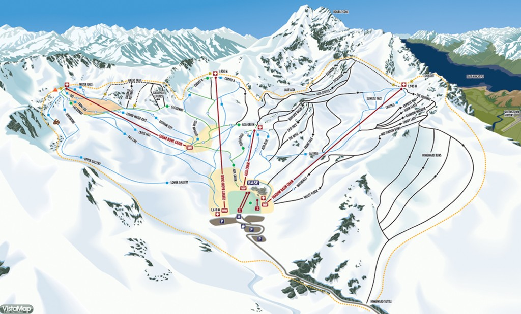 2 The Remarkables ski map. I'm for the green slopes!
